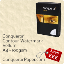 PAPER - CONTOUR.97797, TINT:Vellum, FINISH:Contour, PAPER:100gsm, SIZE:A4-210x297mm, QUANTITY:500Sheets, WATERMARK:Yes