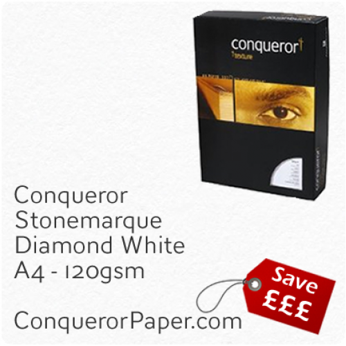 PAPER - Stonemarque.96885C, TINT:DiamondWhite, FINISH:Stonemaque, PAPER:120gsm, SIZE:A4-210x297mm, QUANTITY:250Sheets, WATERMARK:No