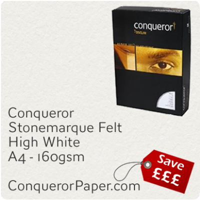 PAPER - Stonemarque.96902C, TINT:HighWhite, FINISH:Stonemaque, PAPER:160gsm, SIZE:A4-210x297mm, QUANTITY:150Sheets, WATERMARK:No