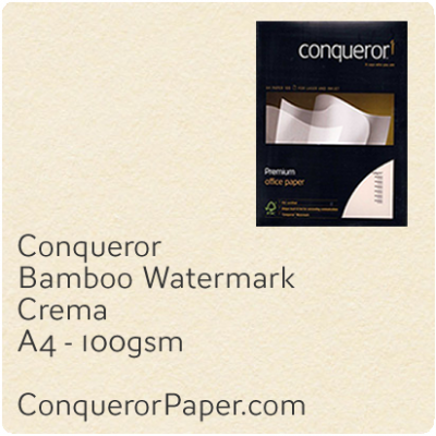 PAPER - Bamboo.52840, TINT:Crema, FINISH:Bamboo, PAPER:100gsm, SIZE:A4-210x297mm, QTY:2,500Sheets, WATERMARK:Yes