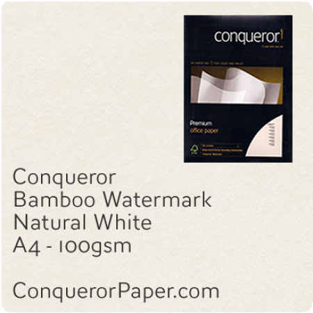 PAPER - Bamboo.64440C, TINT:NaturalWhite, FINISH:Bamboo, PAPER:100gsm, SIZE:A4-210x297mm, QTY:2,500Sheets, WATERMARK:Yes