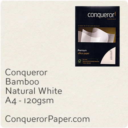 PAPER - Bamboo.64445C, TINT:NaturalWhite, FINISH:Bamboo, PAPER:120gsm, SIZE:A4-210x297mm, QTY:250Sheets, WATERMARK:No