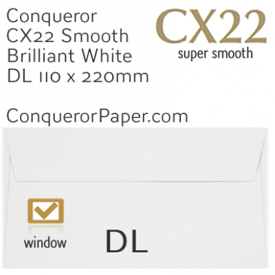 ENVELOPES - CX22.01534, TINT=BrilliantWhite, WINDOW=Yes, TYPE=Wallet, QUANTITY=500, SIZE=DL-110x220mm