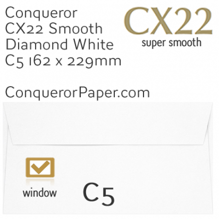ENVELOPES - CX22.01562, TINT=DiamondWhite, WINDOW=Yes, TYPE=Wallet, QUANTITY=250, SIZE=C5-162x229mm