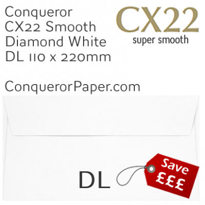 ENVELOPES - CX22.01625, TINT=DiamondWhite, WINDOW=NonWindow, TYPE=Wallet, QUANTITY=500, SIZE=DL-110x220mm