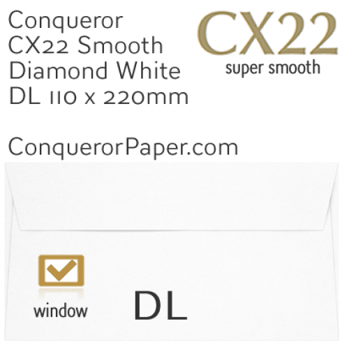 ENVELOPES - CX22.01627, TINT=DiamondWhite, WINDOW=Yes, TYPE=Wallet, QUANTITY=500, SIZE=DL-110x220mm
