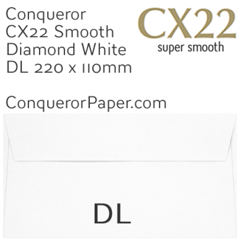 ENVELOPES - CX22.068511, TINT=DiamondWhite, WINDOW=NoWindow, TYPE=Pocket, QUANTITY=500, SIZE=DL-220x110mm