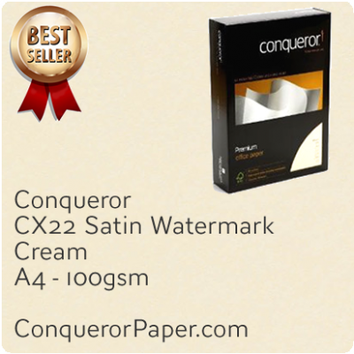 PAPER - CX22.20249, TINT:Cream, FINISH:CX22, PAPER:100gsm, SIZE:A4 210x297mm, QUANTITY:500Sheets, WATERMARK:Yes