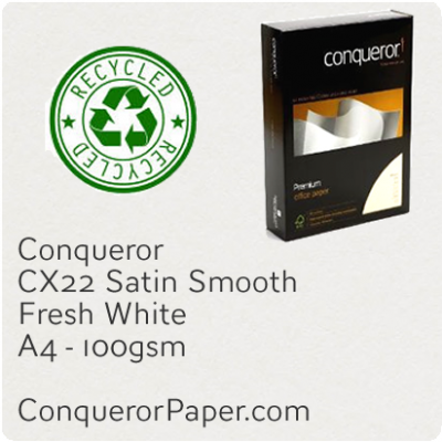 RECYCLED PAPER CX22.35587, TINT:FreshWhite, FINISH:CX22, PAPER:100gsm, SIZE:A4-210x297mm, QUANTITY:500Sheets, WATERMARKED:Yes