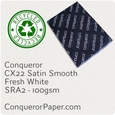 RECYCLED PAPER CX22.35588, TINT:FreshWhite, FINISH:CX22, PAPER:100gsm, SIZE:450x640mm, QUANTITY:500Sheets, WATERMARKED:Yes