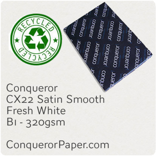 RECYCLED PAPER CX22.35592, TINT:FreshWhite, FINISH:CX22, PAPER:320gsm, SIZE:700x1000mm, QUANTITY:100Sheets, WATERMARKED:No