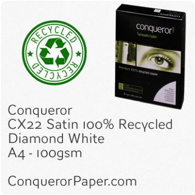 RECYCLED PAPER CX22.41096, TINT:DiamondWhite, FINISH:CX22, PAPER:100gsm, SIZE:A4 210x297mm, QUANTITY:2,500Sheets, WATERMARK:Yes