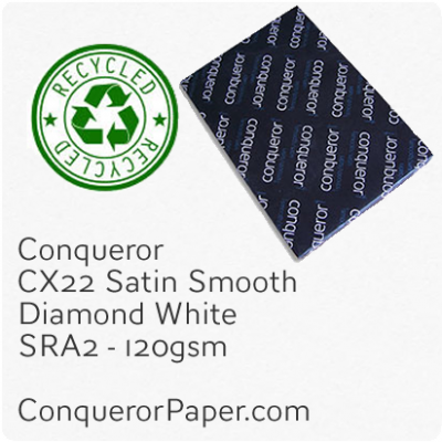 RECYCLED PAPER CX22.41099, TINT:DiamondWhite, FINISH:CX22, PAPER:120gsm, SIZE:450x640mm, QUANTITY:250Sheets, WATERMARK:No