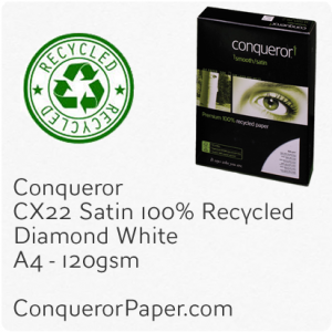 PAPER - CX22.41099C, TINT:DiamondWhite, FINISH:CX22, PAPER:120gsm, SIZE:A4-210x297mm, QUANTITY:500Sheets, WATERMARK:No, 100%Recycled
