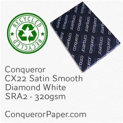 RECYCLED PAPER CX22.41102, TINT:DiamondWhite, FINISH:CX22, PAPER:320gsm, SIZE:450x640mm, QUANTITY:100Sheets, WATERMARK:No