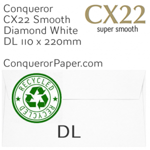 ENVELOPES - CX22.41127, RECYCLED, TINT=DiamondWhite, WINDOW=No, TYPE=Wallet, QUANTITY=500, SIZE=DL-110x220mm