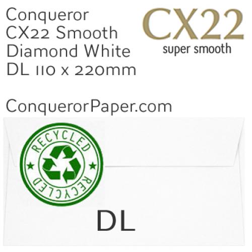 ENVELOPES - CX22.41127, RECYCLED, TINT=DiamondWhite, WINDOW=No, TYPE=Wallet, QUANTITY=500, SIZE=DL-110x220mm
