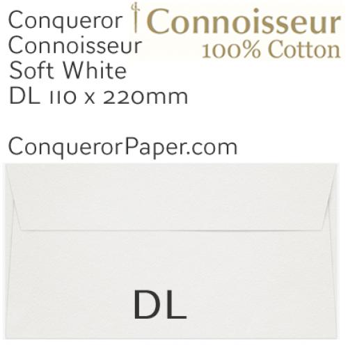 ENVELOPES - CONNOISSEUR.03050, TINT=SoftWhite, WINDOW=No, TYPE=Wallet, QUANTITY=250, SIZE=DL-110x220mm, TissueLined