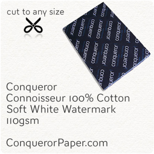 PAPER - CONNOISSEUR.23276, TINT:SoftWhite, FINISH:Cotton, PAPER:110gsm, SIZE:450x640mm, QUANTITY:500Sheets, WATERMARK:Yes