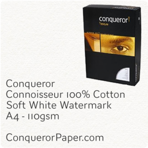 PAPER - CONNOISSEUR.23276C, TINT:SoftWhite, FINISH:Cotton, PAPER:110gsm, SIZE:A4-210x297mm, QUANTITY:500Sheets, WATERMARK:Yes