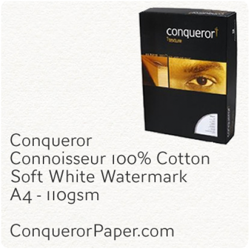 PAPER - CONNOISSEUR.23276C, TINT:SoftWhite, FINISH:Cotton, PAPER:110gsm, SIZE:A4-210x297mm, QUANTITY:2000Sheets, WATERMARK:Yes