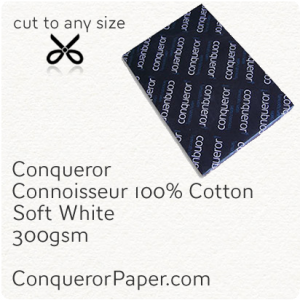 PAPER - CONNOISSEUR.23279, TINT:SoftWhite, FINISH:Cotton, PAPER:300gsm, SIZE:450x640mm, QUANTITY:100Sheets, WATERMARK:No