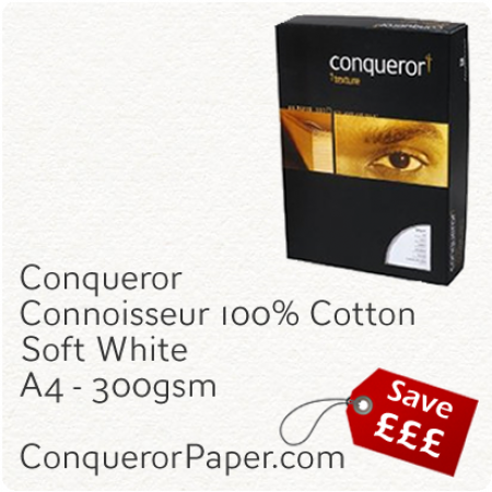 PAPER - CONNOISSEUR.23279C, TINT:SoftWhite, FINISH:Cotton, PAPER:300gsm, SIZE:A4-210x297mm, QUANTITY:100Sheets, WATERMARK:No