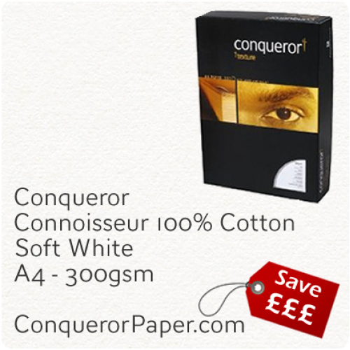 PAPER - CONNOISSEUR.23279C, TINT:SoftWhite, FINISH:Cotton, PAPER:300gsm, SIZE:A4-210x297mm, QUANTITY:400Sheets, WATERMARK:No