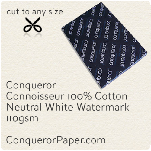 PAPER - CONNOISSEUR.23280, TINT:Neutral, FINISH:Cotton, PAPER:110gsm, SIZE:450x640mm, QUANTITY:500Sheets, WATERMARK:Yes