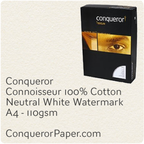 PAPER - CONNOISSEUR.23280C, TINT:Neutral, FINISH:Cotton, PAPER:110gsm, SIZE:A4-210x297mm, QUANTITY:500Sheets, WATERMARK:Yes