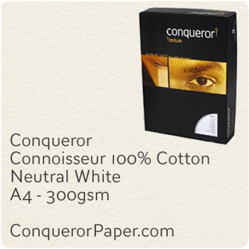 PAPER - CONNOISSEUR.25237C, TINT:Neutral, FINISH:Cotton, PAPER:300gsm, SIZE:A4-210x297mm, QUANTITY:400Sheets, WATERMARK:no
