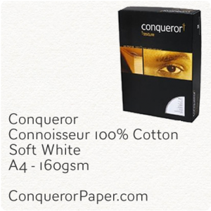 PAPER - CONNOISSEUR.96791C, TINT:SoftWhite, FINISH:Cotton, PAPER:160gsm, SIZE:A4-210x297mm, QUANTITY:150Sheets, WATERMARK:No