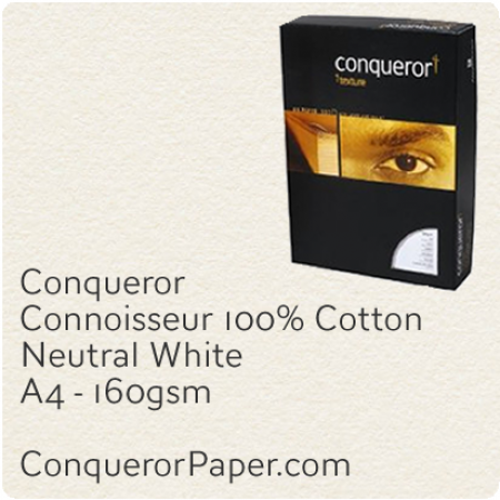 PAPER - CONNOISSEUR.96793C, TINT:Neutral, FINISH:Cotton, PAPER:160gsm, SIZE:A4-210x297mm, QUANTITY:150Sheets, WATERMARK:no