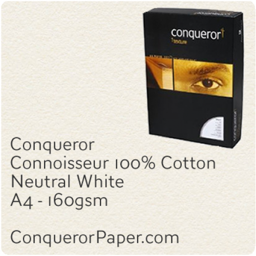 PAPER - CONNOISSEUR.96793C, TINT:Neutral, FINISH:Cotton, PAPER:160gsm, SIZE:A4-210x297mm, QUANTITY:1200Sheets, WATERMARK:no