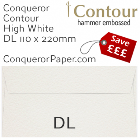 ENVELOPES - CONTOUR.01350, TINT=HighWhite, WINDOW=No, TYPE=Wallet, QUANTITY=500, SIZE=DL-110x220mm