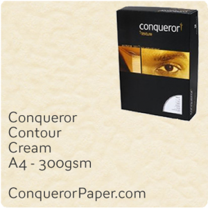 PAPER - CONTOUR.21951C, TINT:Cream, FINISH:Contour, PAPER:300gsm, SIZE:A4-210x297mm, QUANTITY:100Sheets, WATERMARK:No