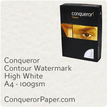 PAPER - CONTOUR.25728C, TINT:HighWhite, FINISH:Contour, PAPER:100gsm, SIZE:A4-210x297mm, QUANTITY:500Sheets, WATERMARK:Yes