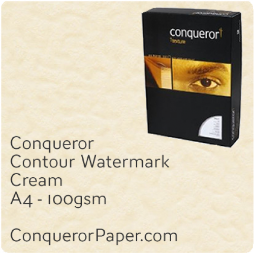 PAPER - CONTOUR.25762C, TINT:Cream, FINISH:Contour, PAPER:100gsm, SIZE:A4-210x297mm, QUANTITY:500Sheets, WATERMARK:Yes