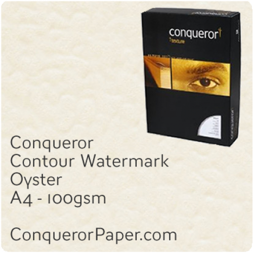 PAPER - CONTOUR.25768C, TINT:Oyster, FINISH:Contour, PAPER:100gsm, SIZE:A4-210x297mm, QUANTITY:500Sheets, WATERMARK:Yes