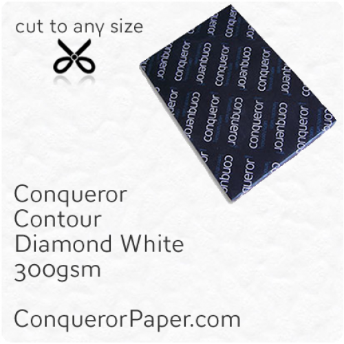 PAPER - CONTOUR.42619, TINT:DiamondWhite, FINISH:Contour, PAPER:300gsm, SIZE:450x640mm, QUANTITY:100Sheets, WATERMARK:No