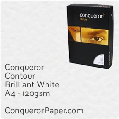 PAPER - CONTOUR.42625C, TINT:BrilliantWhite, FINISH:Contour, PAPER:120gsm, SIZE:A4-210x297mm, QUANTITY:250Sheets, WATERMARK:No