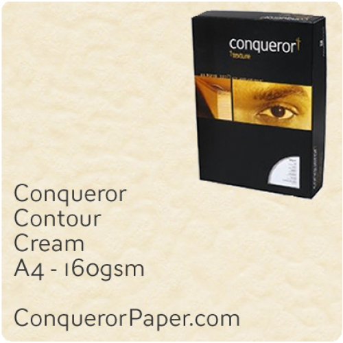 PAPER - CONTOUR.96803C, TINT:Cream, FINISH:Contour, PAPER:160gsm, SIZE:A4-210x297mm, QUANTITY:150Sheets, WATERMARK:No