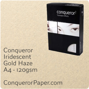 PAPER - IRIDESCENT.38570C, TINT:GoldHaze, FINISH:Iridescent, PAPER:120gsm, SIZE:A4-210x297mm, QUANTITY:250Sheets, WATERMARKED:No