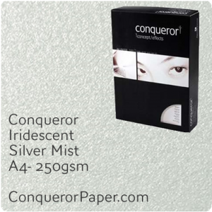 PAPER - IRIDESCENT.64059C, TINT:SilverMist, FINISH:Iridescent, PAPER:250gsm, SIZE:A4-210x297mm, QUANTITY:100Sheets, WATERMARKED:No