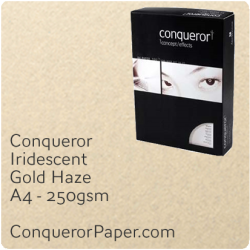 PAPER - IRIDESCENT.64060C, TINT:GoldHaze, FINISH:Iridescent, PAPER:250gsm, SIZE:A4-210x297mm, QUANTITY:100Sheets, WATERMARKED:No