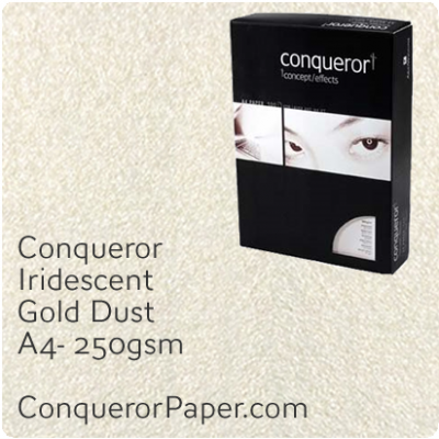 PAPER - IRIDESCENT.97023C, TINT:GoldDust, FINISH:Iridescent, PAPER:250gsm, SIZE:A4-210x297mm, QUANTITY:100Sheets, WATERMARKED:No
