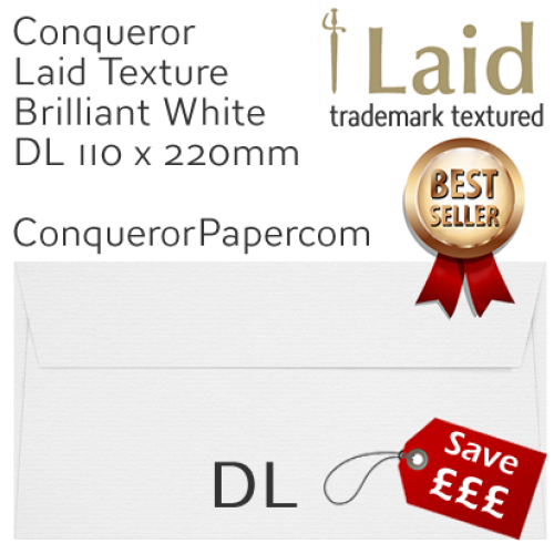 ENVELOPES - Laid.01006, WINDOW=No, TYPE=Wallet, TINT=BrilliantWhite, DL-110x220mm, QUANTITY=500