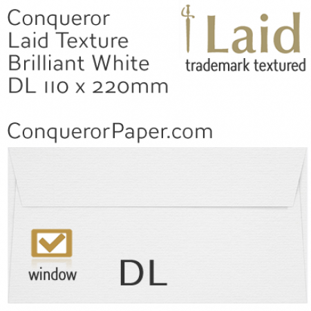 ENVELOPES - Laid.01009, WINDOW=Yes, TYPE=Wallet, TINT=BrilliantWhite, SIZE=DL-110x220mm, QUANTITY=500