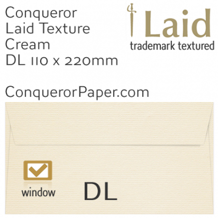ENVELOPES - Laid.01060, WINDOW=Yes, TYPE=Wallet, TINT=Cream, SIZE=DL-110x220mm, QUANTITY=500