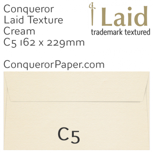 ENVELOPES - Laid.01091, TINT=Cream, WINDOW=No, TYPE=Wallet, SIZE=C5-162x229mm, QUANTITY=250